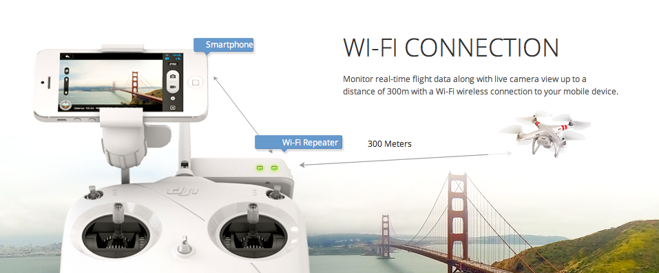 DJI Phantom Vision wifi details quadcopters.co.uk