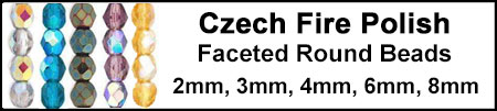 Czech Fire Polish Faceted Round Beads