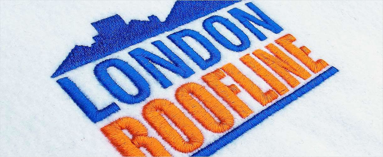 Close up view of an embroidered logo