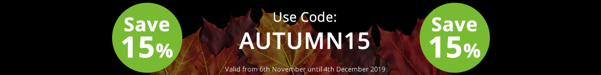 Save 15% with our discount code: AUTUMN15