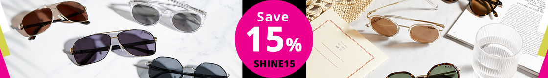 Save 15% on any purchase until August 11th. Use code: SHINE15