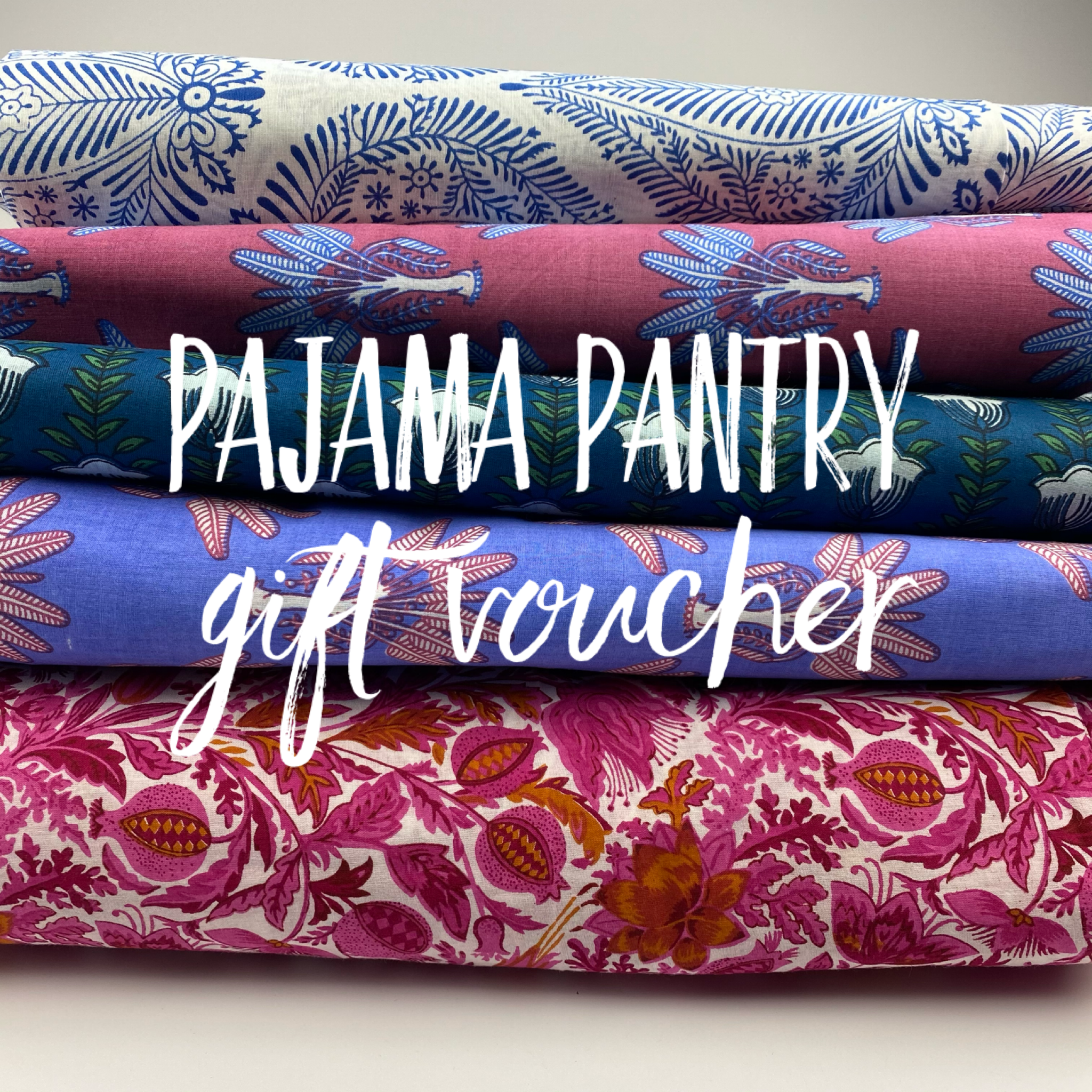 Selection of different pajama designs with text 'Pajama Pantry gift voucher'
